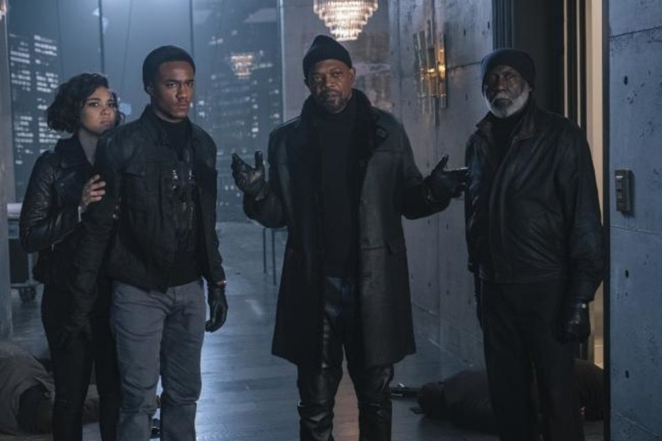 Photo -  This image released by Warner Bros. Pictures shows from left, Alexandra Shipp, Jessie Usher, Samuel Jackson and Richard Roundtree in a scene from