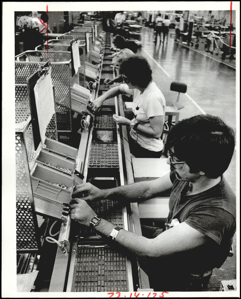 Photo -  Workers on the line at the plant were pictured in 1983. [The Oklahoman Archives]