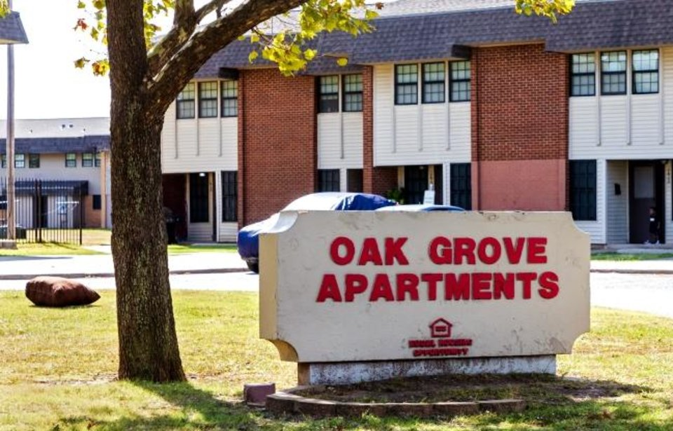 Photo -  The Oak Grove Apartments located near Interstate 44 and SW 15 St. in Oklahoma City. The residents there are frustrated with the lack of high-speed internet access, despite their close proximity to the infrastructure needed. [Chris Landsberger/The Oklahoman]