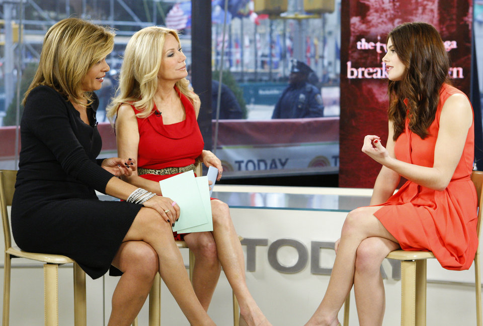 Photo - In this image released by NBC, co-hosts Hoda Kotb, left, and Kathie Lee Gifford listen to actress Ashley Greene, right, during an appearance on the