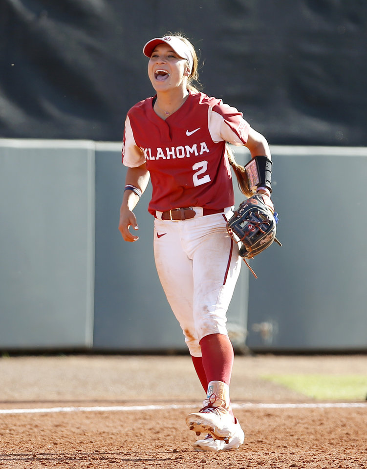 Photo - Oklahoma's Sydney Romero (2) celebrates in the 7th inning during college softball game between Oklahoma and Wisconsin in the NCAA Norman Regional at Marita Hynes Field in Norman, Okla., Sunday, May 19, 2019. OU won 2-0. Photo by Sarah Phipps, The Oklahoman