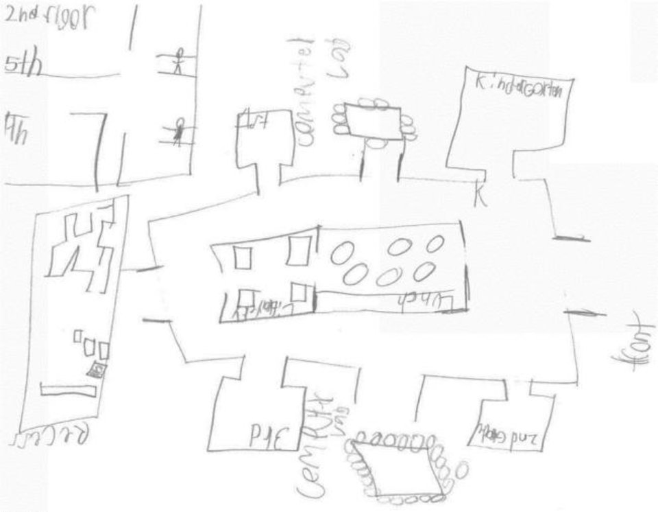 Photo -  A Positive Tomorrows student named Kenneth drew a sketch of what he wanted the school's new building to look like, and produced a design that matched some aspects of architects' plans. [MA+ Architecture]