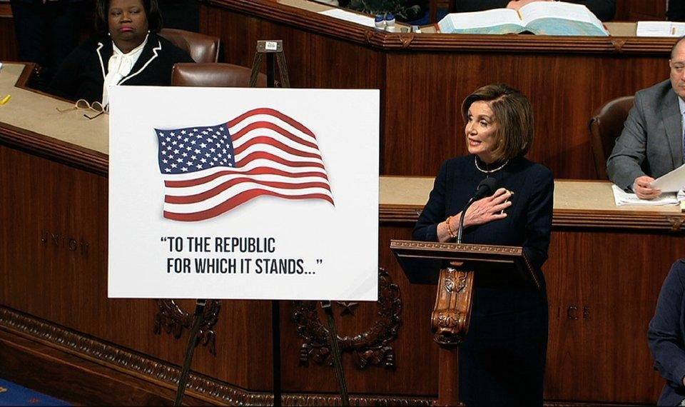 Photo - House Speaker Nancy Pelosi of Calif., speaks as the House of Representatives debates the articles of impeachment against President Donald Trump at the Capitol in Washington, Wednesday, Dec. 18, 2019. [House Television via AP]