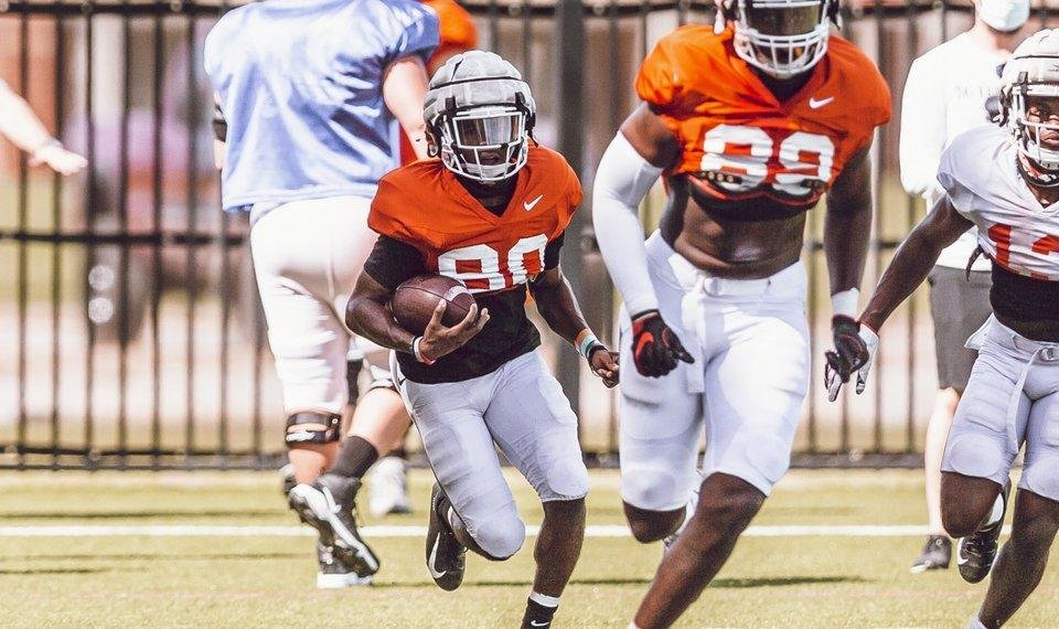 Photo - Could Brennan Presley (80) be one of the true freshmen to get on the field for the Cowboys this season? [Bruce Waterfield/Courtesy of OSU Athletics]