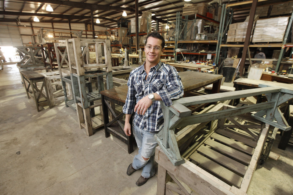Furniture Builder Jason Thomas Stands Among Some Of The Reclaimed Wood  Furniture His Company Creates In West Oklahoma City. Photo By Paul  Hellstern, ...