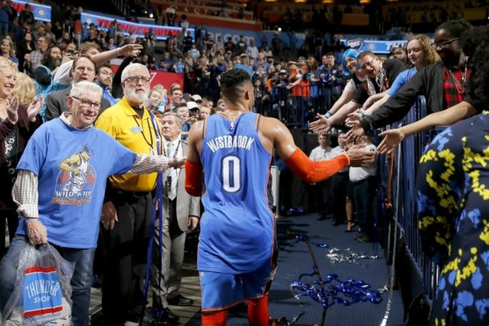 Photo -  Russell Westbrook and the Thunder have given fans plenty to celebrate in 11 seasons in Oklahoma City. [Bryan Terry/The Oklahoman]