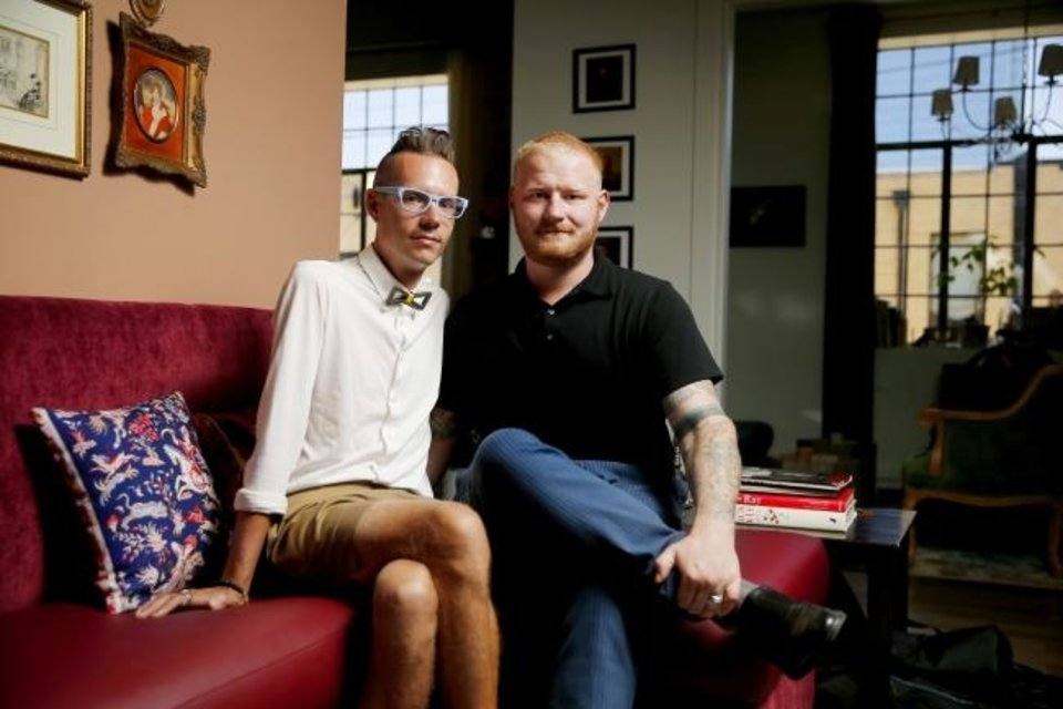 Photo -  Married couple Matt, left, and Brad Kirouac have traveled the country and found themselves most at home in Oklahoma City. [Bryan Terry/The Oklahoman]