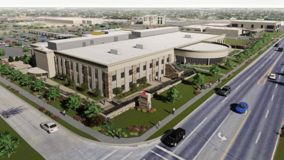 Photo -  Renovations have started on the former Hertz Worldwide Reservation Center, which is now owned by Love's Travel Centers and set to accomodate the company's growth. The renovation will include adding 100 windows and a new facade. [RENDERING BY FSB]