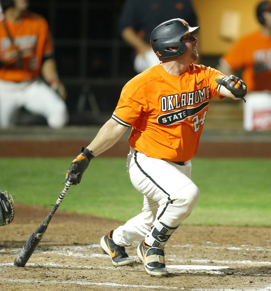 Photo - Oklahoma State's Colin Simpson (24) hits a home run in the second inning of a Big 12 baseball tournament game between Oklahoma State University (OSU) and TCU at Chickasaw Bricktown Ballpark in Oklahoma City, Okla., Wednesday, May 22, 2019.  [Bryan Terry/The Oklahoman]