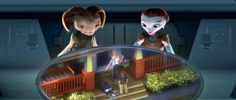 Photo - From Mars, The Supervisor (Mindy Sterling), left, and Ki (Elisabeth Harnois) monitor 9-year-old Milo (Seth Green) and his mom (Joan Cusack) in this scene from
