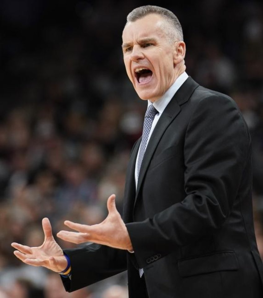 Photo -  Oklahoma City Thunder coach Billy Donovan yells to a referee during a recent game in San Antonio. Donovan has nine technical fouls this season, which is second in the NBA for coaches.  [AP Photo/Darren Abate]