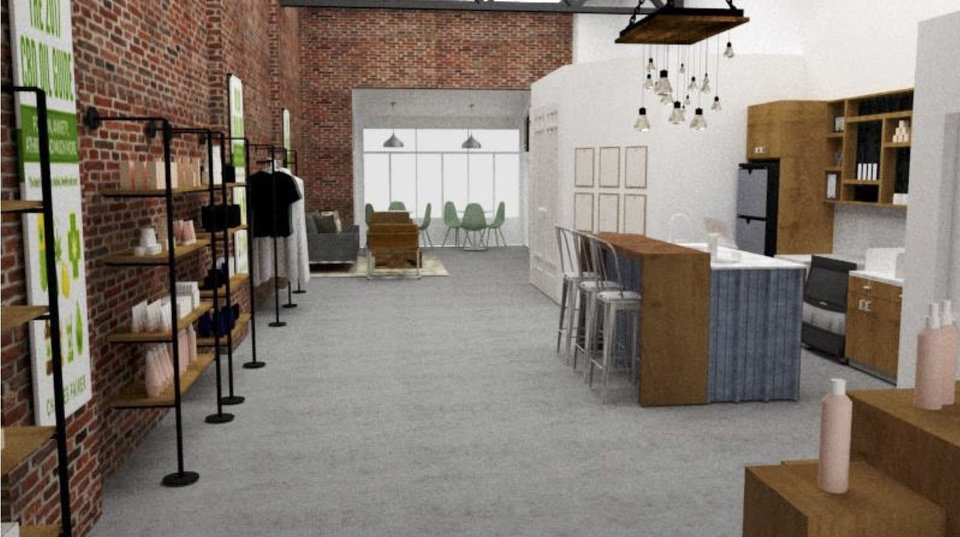 Photo -  A CBD store set to open in the Plaza District will include a juice bar and an array of organic products, cosmetics and jewelry as shown in this rendering. [Photo provided]