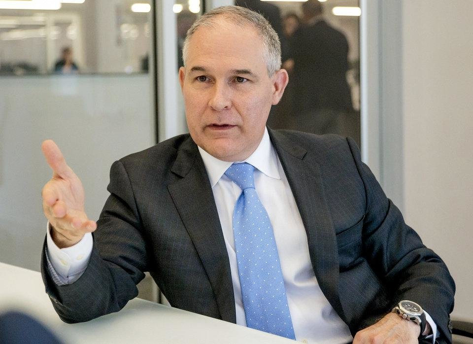 Photo -  Scott Pruitt, U.S. Environmental Protection Agency administrator, speaks on a number of topics during a visit in July to The Oklahoman in downtown Oklahoma City. [Photo by Chris Landsberger, The Oklahoman]