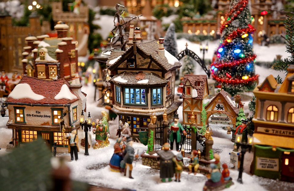 areas of the miniature christmas village in the garage of stephen and donnita dagg photo by chris landsberger the oklahoman - Miniature Christmas Town Decorations