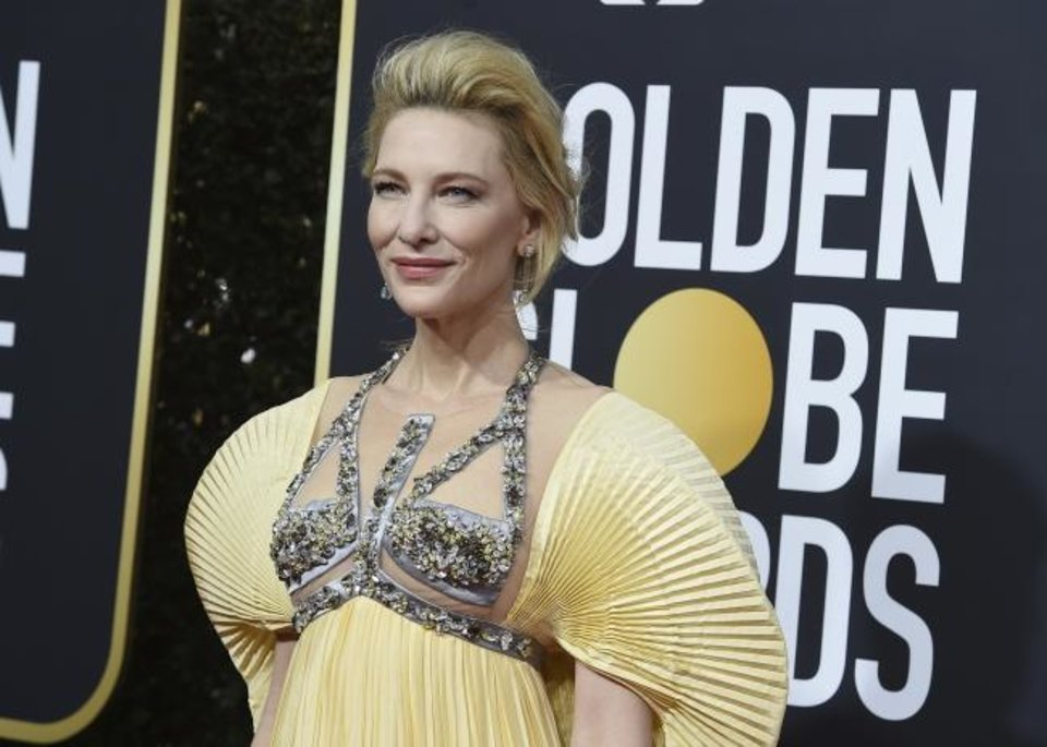 Photo -  Cate Blanchett arrives at the 77th Annual Golden Globe Awards on Jan. 5 at Hotel Beverly Hilton in Beverly Hills, Los Angeles. [Jordan Strauss/Invision/AP]