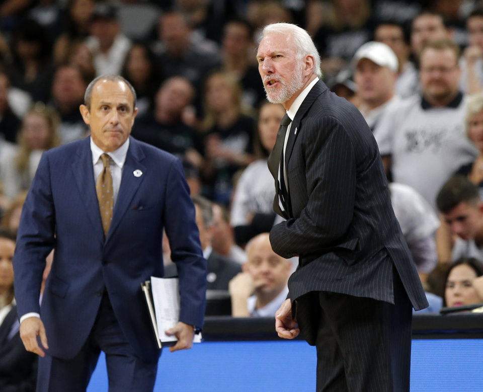 Photo - San Antonio coach Greg Popovich shouts during Game 1 of the second-round series between the Oklahoma City Thunder and the San Antonio Spurs in the NBA playoffs at the AT&T Center in San Antonio, Saturday, April 30, 2016. San Antonio won 124-92. Photo by Bryan Terry, The Oklahoman