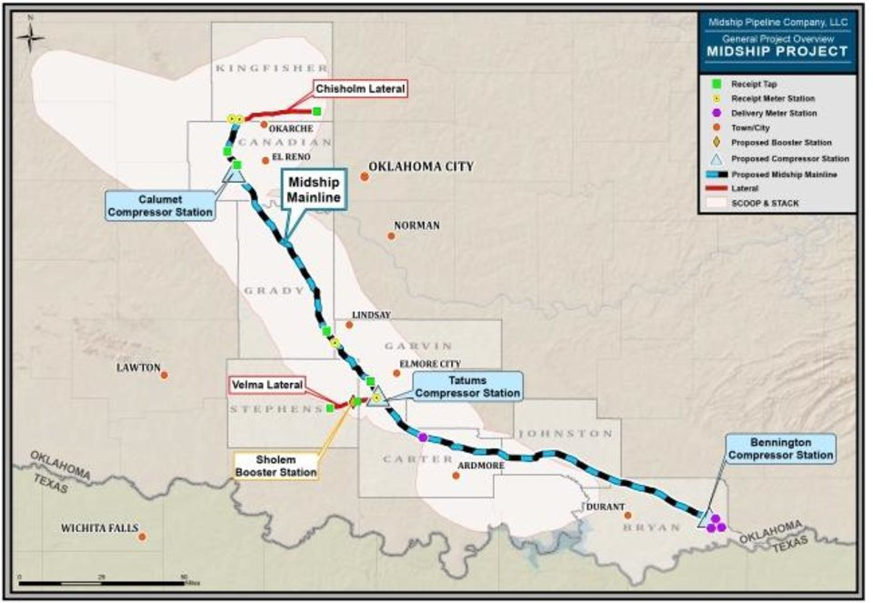 Photo -  This map shows the planned route for the Midship Pipeline, expected to become operational by the end of this year. [Provided]