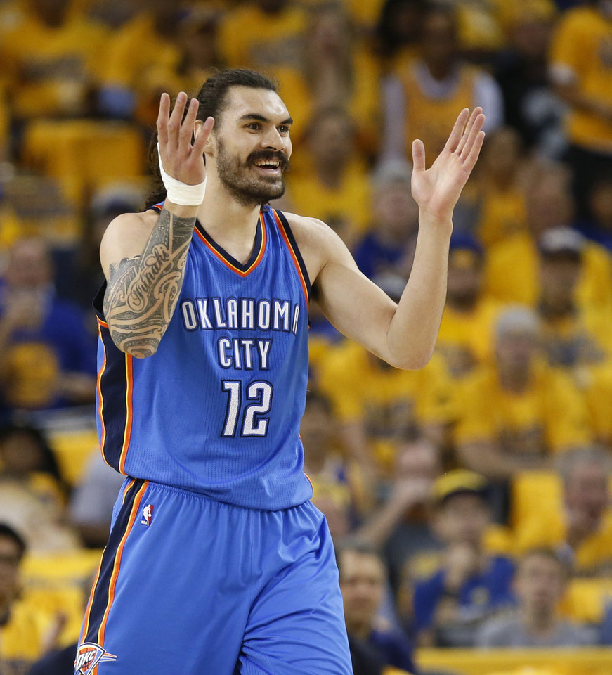 Photo - Oklahoma City's Steven Adams (12) rects after getting a foul during Game 5 of the Western Conference finals in the NBA playoffs between the Oklahoma City Thunder and the Golden State Warriors at Oracle Arena in Oakland, Calif., Thursday, May 26, 2016. Photo by Nate Billings, The Oklahoman