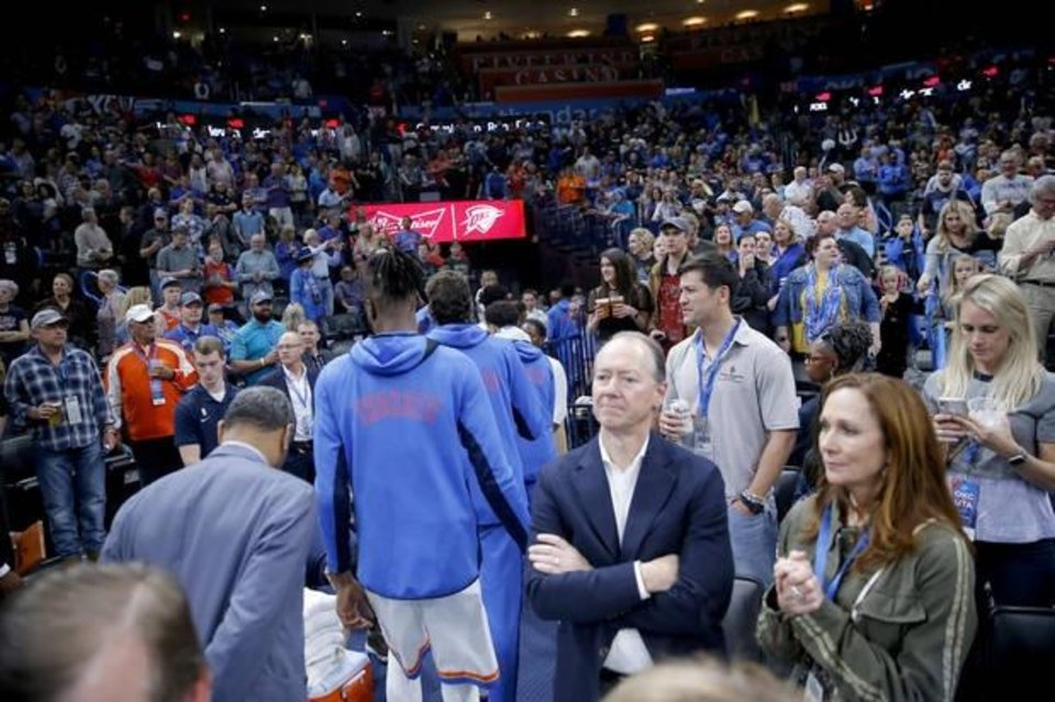 Photo -  Thunder players leave the court before the March 11 game against the Jazz was postponed at Chesapeake Energy Arena. [Bryan Terry/The Oklahoman]