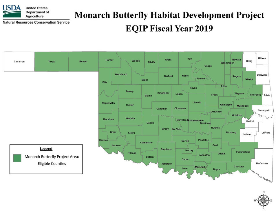 Photo -  This map shows where landowners are eligible to apply for grant funds to boost the habitats for monarchs and other pollinators. The money is being supplied by the U.S. Department of Agriculture Natural Resources Conservation Service's Environmental Quality Incentives Program.