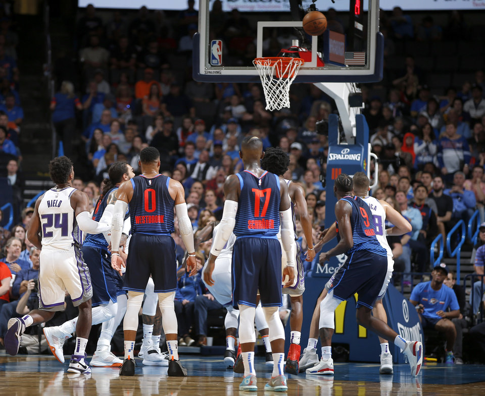 Photo - Oklahoma City's Russell Westbrook (0) misses a free throw during an NBA basketball game between the Oklahoma City Thunder and the Sacramento Kings at Chesapeake Energy Arena in Oklahoma City, Sunday, Oct. 21, 2018. Photo by Bryan Terry, The Oklahoman
