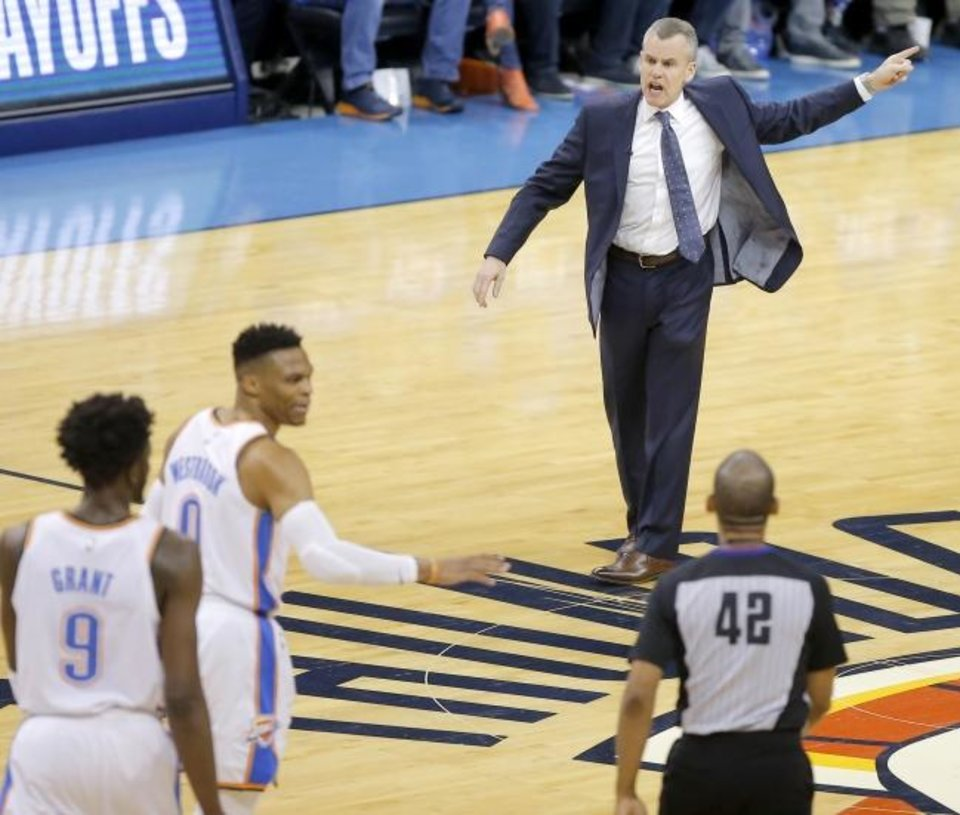 Photo -  Billy Donovan marches onto the court and gets a technical foul during Game 4 Sunday night. [Bryan Terry/The Oklahoman]