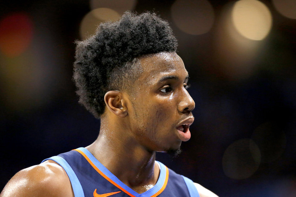 Photo - Oklahoma City's Hamidou Diallo walks off the court during an NBA basketball game between the Oklahoma City Thunder and the Sacramento Kings at Chesapeake Energy Arena in Oklahoma City, Sunday, Oct. 21, 2018. Photo by Bryan Terry, The Oklahoman