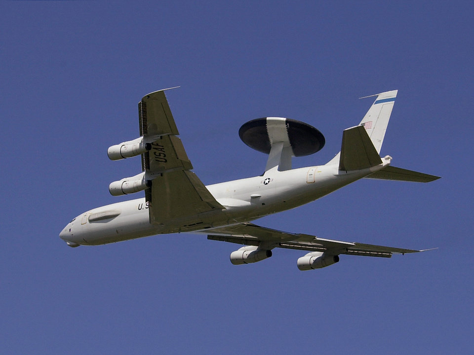 AWACS / AIRPLANE, PLANE: An E-3A aircraft takes off from Tinker Air Force Base Wednesday afternoon.   Staff photo by Jim Beckel.