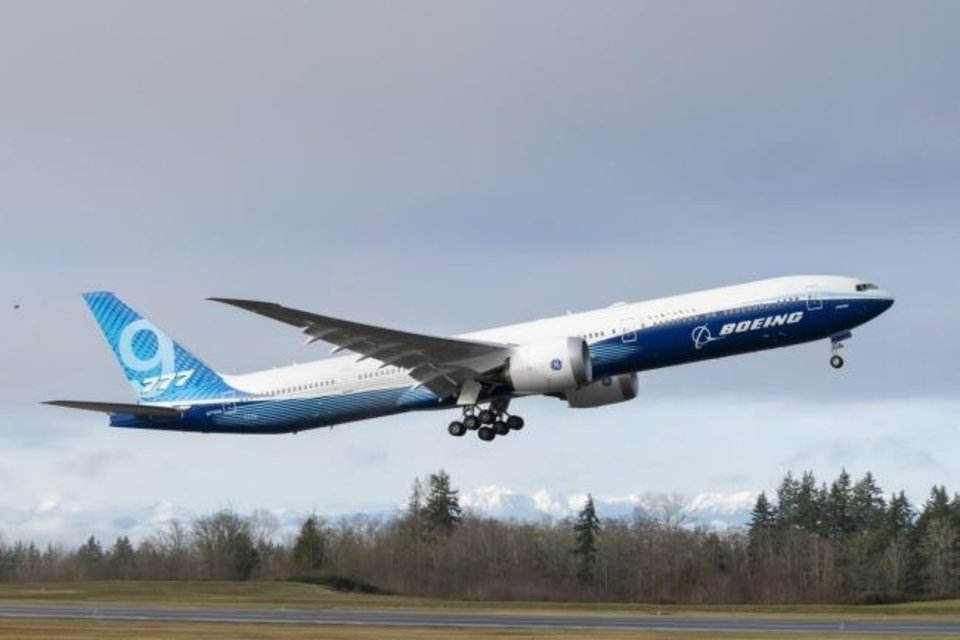 Photo -  Boeing 777X during takeoff. Provided
