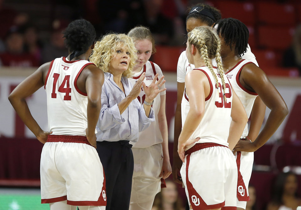 Photo -  Oklahoma coach Sherri Coale is relying almost exclusively on freshmen and sophomores this season. A couple of small recruiting classes lost players to transfers, and because of Coale's hesitance to take transfers, the Sooners have been left young and inexperienced. [PHOTO BY BRYAN TERRY, THE OKLAHOMAN]