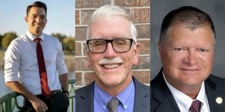 Photo -  Councilman Todd Stone, right, has two challengers in the OKC Ward 4 primary, Sam Wargin Grimaldo, left, and Larry Hopper.