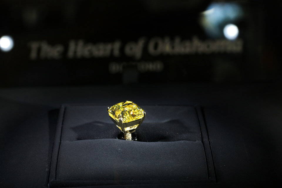 Photo - Unveiling of the Heart of Oklahoma diamond at B.C. Clark Jewelers downtown store Friday, September 13, 2019. [Doug Hoke/The Oklahoman]