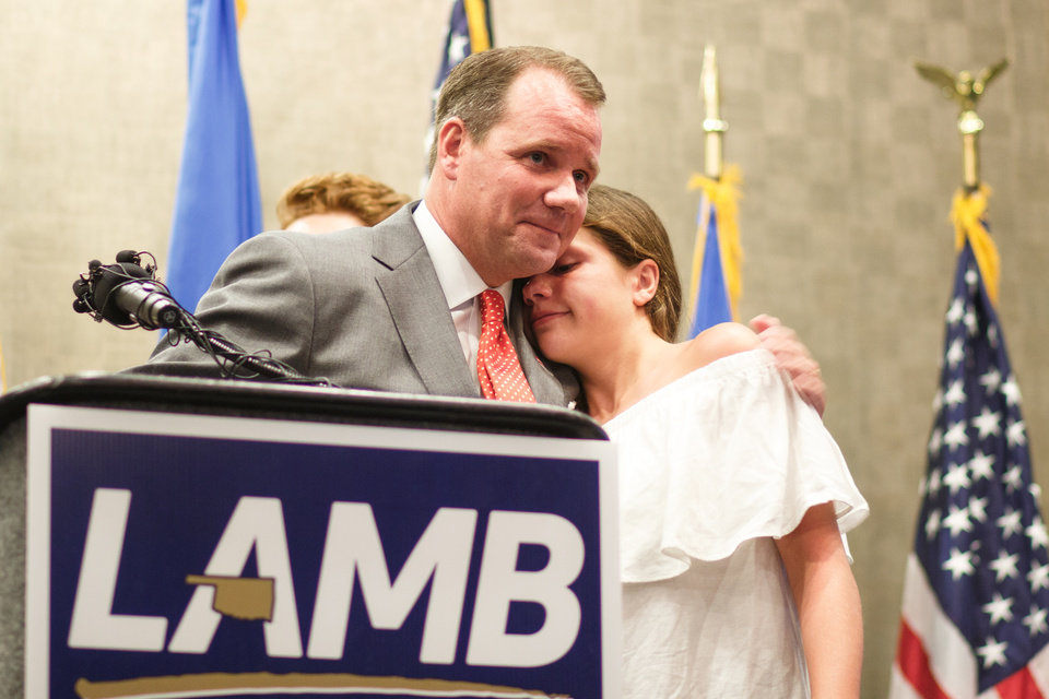Photo - Lt. Gov. Todd Lamb gives his daughter Lauren a hug after thanking her for her role in his campaign videos at his election watch party at the Renaissance Waterford Oklahoma City Hotel in Oklahoma City, Tuesday, June 26, 2018. Photo by Anya Magnuson, The Oklahoman