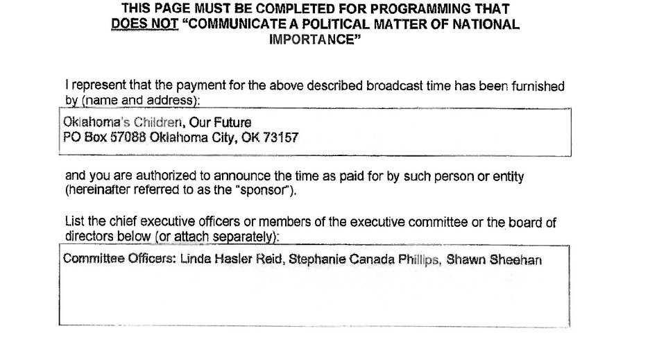 Photo -  Three former Oklahoma teachers of the year are listed as officers of a group financing pro-education television ads airing during walkout.   Source: Federal Communications Commission Public Files