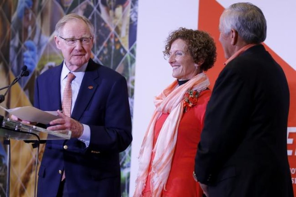 Photo -  Oklahoma State President Burns Hargis speaks with OSU alumni Kayleen and Larry Ferguson during a press conference to announce the Ferguson's $50 million donation to the agricultural college at OSU in Stillwater, Okla., Wednesday, Jan. 15, 2020. [Bryan Terry/The Oklahoman]