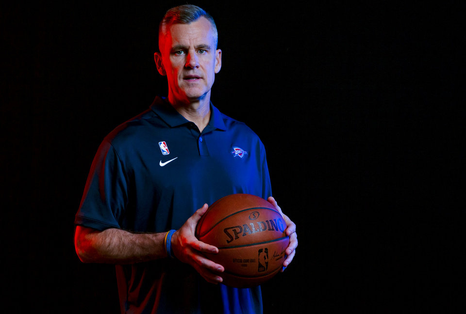 Photo - Coach Billy Donovan poses for a photo during the Oklahoma City Thunder media day at the Chesapeake Energy Arena in Oklahoma City, Okla. on Monday, Sept. 30, 2019.  [Chris Landsberger/The Oklahoman]
