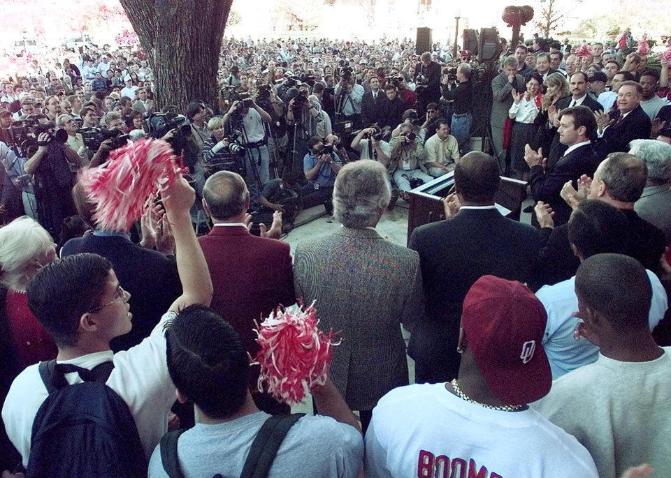 Photo - BOB STOOPS IS INTRODUCED AS THE OU'S NEW FOOTBALL HEAD COACH TUESDAY AFTERNOON IN FRONT OF EVENS HALL.