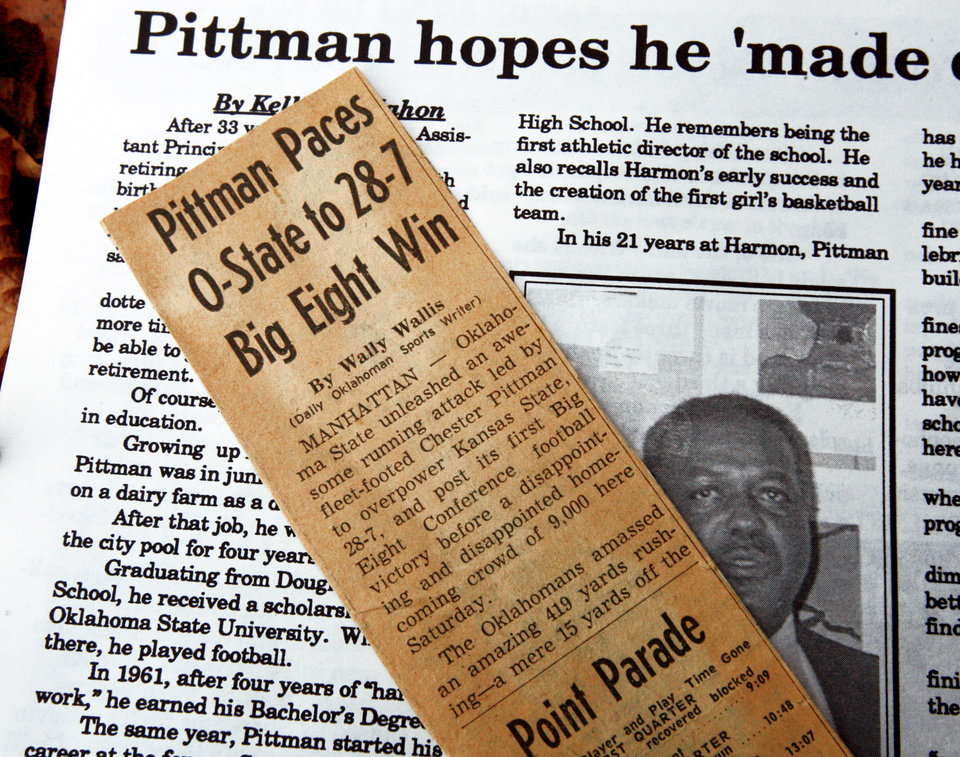 Photo - Some of Chester Pittman's press clippings include him leading Oklahoma State to a 28-7 win over Kansas State in 1960.