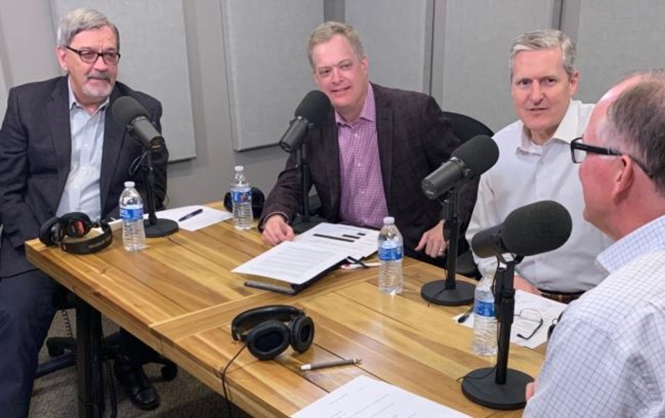 Photo -  Several Oklahoma Baptist leaders participate in a Baptist Messenger podcast about the coronavirus pandemic. They are: the Rev. Joe Ligon, the Rev. Stephen Rummage, the Rev. Doug Melton and the Rev. Hance Dilbeck, executive director-treasurer of Oklaoma Baptists. [Baptist Messenger]