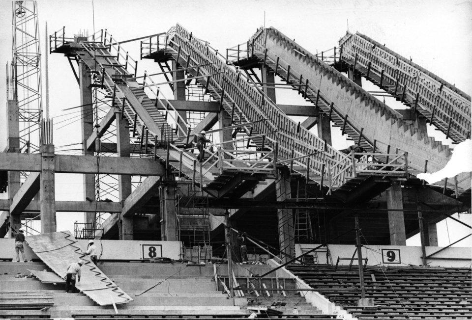 Photo - As OU's football fortunes rose so did the stadium where the games were played. An upper deck was added in the mid 1970's.