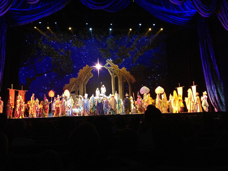 Photo - A photo taken from the audience at The Rockettes Christmas Spectacular during the live Nativity scene. Photo by Heather Warlick, The Oklahoman.