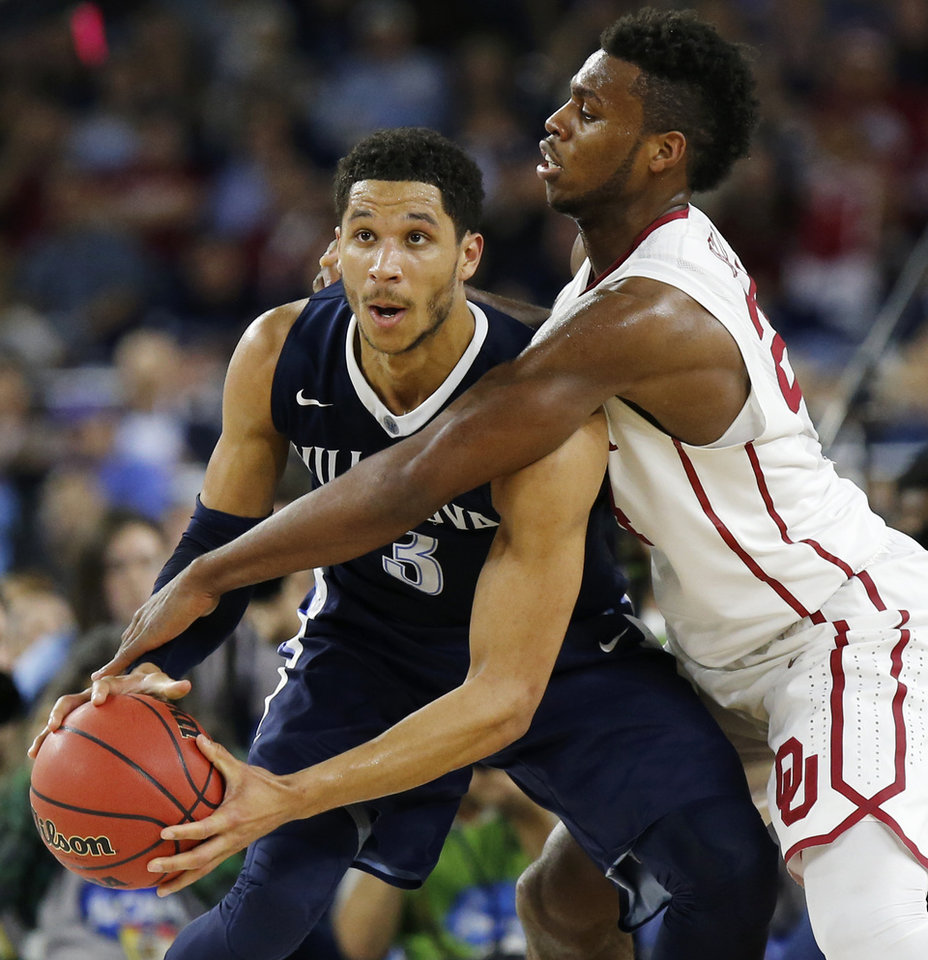 Photo - Oklahoma's Buddy Hield (24) defends Villanova's Josh Hart (3) during the national semifinal between the Oklahoma Sooners (OU) and the Villanova Wildcats in the Final Four of the NCAA Men's Basketball Championship at NRG Stadium in Houston, Saturday, April 2, 2016. Photo by Nate Billings, The Oklahoman
