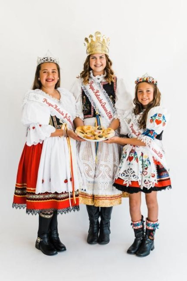 Photo -  From left, the Prague Kolache Festival 2019 royalty are, from left, Junior Queen Elle Standlee-Daniels; Queen Julie Brydon; and Princess Madelyn Shepard. The 60th Prague Kolache Festival is Saturday. [Photo provided]