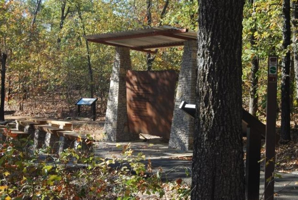 Photo -  This is a trailhead marker at Keystone Ancient Forest. [Photo provided by Sand Springs Parks]