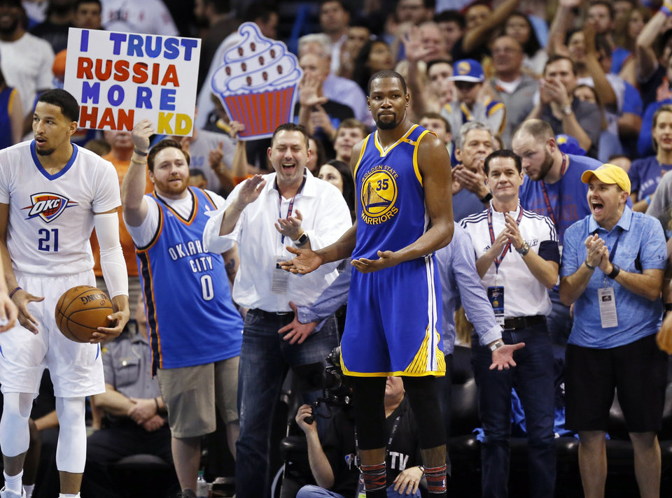 64366a3cdfc Golden State s Kevin Durant (35) reacts after being called for his fifth  foul during an NBA basketball game between the Oklahoma City Thunder and  the Golden ...