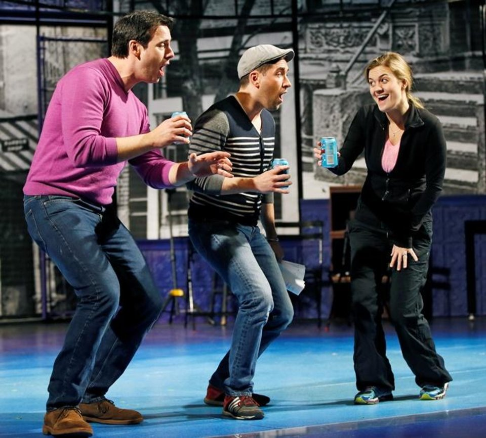 Photo - From left, Mateja Govich, Zachary Prince and Liz Shivener rehearse a scene from Lyric Theatre's new musical