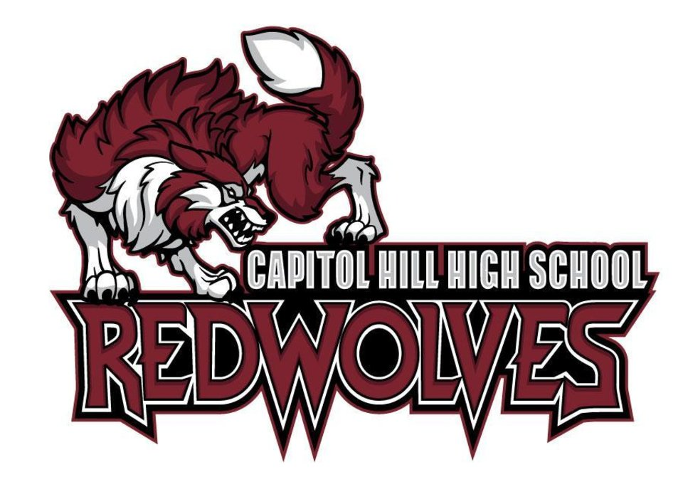 Photo - New mascot logo for Capitol Hill High School, Red Wolves. Provided