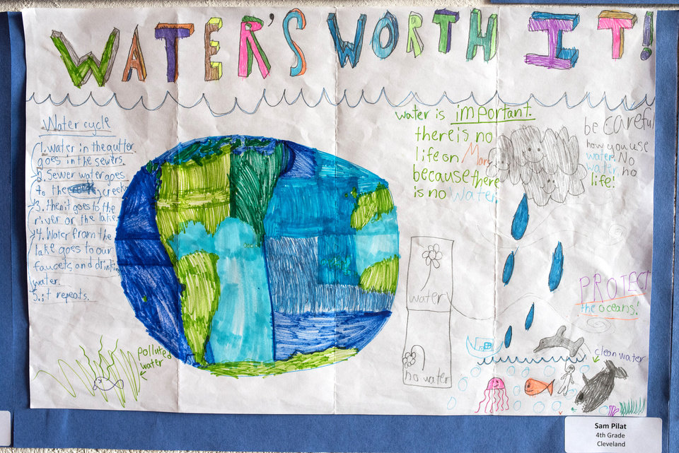 Photo -  Fourth-Grader Sam Pilat's art was on display at the 2018 Water's Worth It Poster Contest. [PHOTO BY WHITNEY BRYEN, FOR THE OKLAHOMAN]