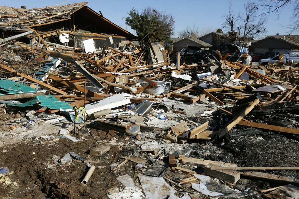 Photo -  Debris is all that is left from a massive house explosion at 12505 Whispering Hollow Drive in Oklahoma City, OK, Monday, January 4, 2016, Photo by Paul Hellstern, The Oklahoman