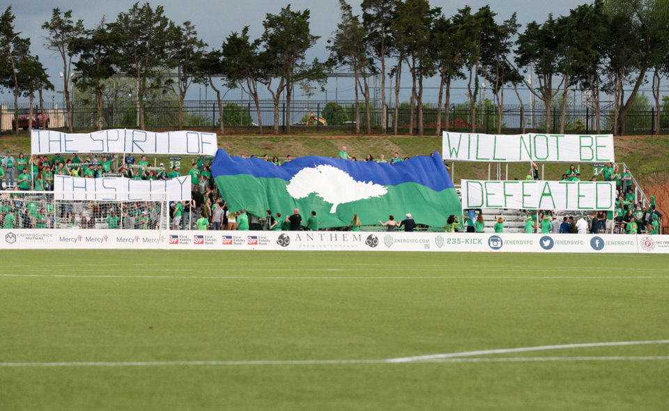 Photo -  The Grid displays a banner before Energy FC's match with Seattle on Saturday. PHOTO BY STEVEN CHRISTY, OKC ENERGY FC